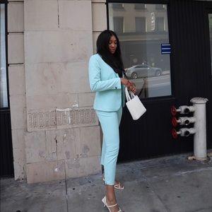 Mint colored Zara blazer and pant set